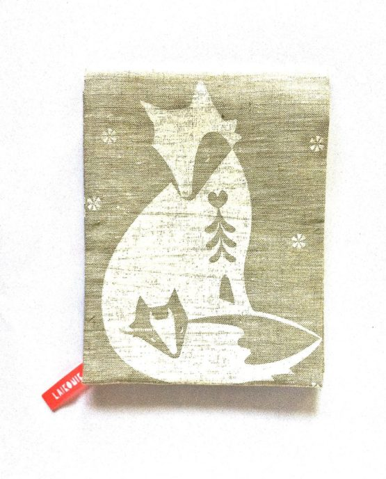 Pure linen fox tea towel